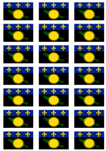 Guadeloupe Flag Stickers - 21 per sheet